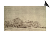 Winter Landscape with Cottages Among Trees, c.1650 Print by  Rembrandt van Rijn