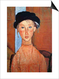 Girl with a Black Hat, 1918 Prints by Amedeo Modigliani