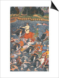 "Emperor Akbar Crossing the River Ganges in 1567, from the ""Akbarnama"" Made by Abu""L Fazi, 1590-98 Print"
