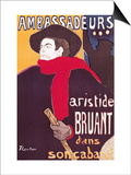 Poster Advertising Aristide Bruant in His Cabaret at the Ambassadeurs, 1892 Lámina por Henri de Toulouse-Lautrec