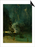 Nocturne in Black and Gold, the Falling Rocket, C.1875 (Oil on Panel) Prints by James Abbott McNeill Whistler