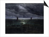 Sea Shore in Moonlight, 1835-36 Posters by Caspar David Friedrich