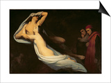 Francesca Da Rimini and Paolo Da Verrucchio Appear to Dante and Virgil Posters by Ary Scheffer
