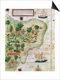 """Brazil from the """"Miller Atlas"""" by Pedro Reinel, circa 1519 Posters"""