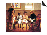 The Sewing Lesson Print by Constant Mayer