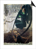 The Death and the Gravedigger, 1900 Prints by Carlos Schwabe