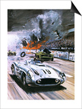 Mercedes Crash in the 1955 Le Mans Race Art by Graham Coton