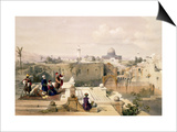 """Mosque of Omar Showing the Site of the Temple, Plate 8 from Volume I of """"The Holy Land"""" Prints by David Roberts"""