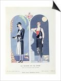 Day and Night, Plate 47 from 'La Gazette Du Bon Ton' Depicting Day and Evening Dresses, 1924-25 Print by Georges Barbier