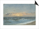 Sunset over the Sea, 1900 (Oil on Board) Print by William Pye