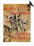 Design for the Cover of 'Musica Futurista' by Francesco Balilla Pratella (1880-1955), 1912 Prints by Umberto Boccioni