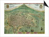 "Map of Catania, from ""Civitates Orbis Terrarum"" by Georg Braun and Frans Hogenberg, circa 1572 Art by Joris Hoefnagel"