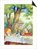 The Mad Hatter's Tea Party, Illustration from Alice in Wonderland by Lewis Carroll Posters by John Tenniel