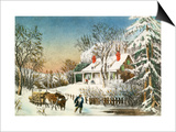 Bringing Home the Logs, Winter Landscape Poster by  Currier & Ives