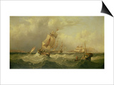 Sailing Ships Off the Coast at Tynemouth Prints by Henry Redmore