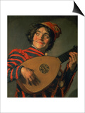 Portrait of a Jester with a Lute Poster by Frans Hals