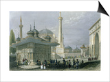 Fountain and Square of St. Sophia Istanbul Posters by William Henry Bartlett