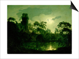 A Moonlit Lake by a Castle Prints by Joseph Wright of Derby