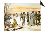 British and German Soldiers Hold a Christmas Truce During the Great War Poster por Angus Mcbride