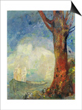 The Barque, c.1900 Art by Odilon Redon