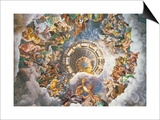 The Gods of Olympus, Trompe L'Oeil Ceiling from the Sala Dei Giganti, 1528 Prints by Giulio Romano