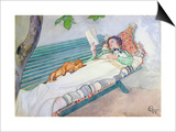 Woman Lying on a Bench, 1913 Prints by Carl Larsson