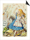 The Shower of Cards, Illustration from Alice in Wonderland by Lewis Carroll Prints by John Tenniel