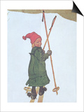 Little Girl Skiing Posters by Carl Larsson