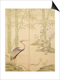 Bamboo and Crane, Edo Period (W/C on Panel) Print by  Japanese