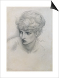Study of a Girl's Head (Pencil on Paper) (See also 198345) Print by Edward Burne-Jones