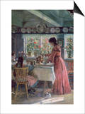 The Coffee is Poured - the Artist's Wife with Their 2 Daughters Print by Laurits Regner Tuxen