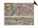 Map of Poznan and Gruczno, from Civitates Orbis Terrarum by Georg Braun Posters by Joris Hoefnagel