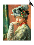 Young Girl in a White Hat Prints by Pierre-Auguste Renoir