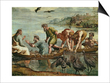 The Miraculous Draught of Fishes (Sketch for the Sistine Chapel) (Pre-Restoration) Posters by  Raphael
