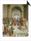 School of Athens, Detail of the Centre Showing Plato and Aristotle with Students Posters par  Raphael