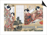 Japanese Women Reading and Writing (Colour Woodblock Print) Posters by Katsukawa Shunsho