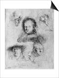 Six Heads with Saskia Van Uylenburgh in the Centre, 1636 Posters by  Rembrandt van Rijn