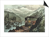 The Route to California. Truckee River, Sierra Nevada. Central Pacific Railway, 1871 Prints by  Currier & Ives