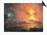 The Eruption of Vesuvius Poster by Jean Baptiste Genillion