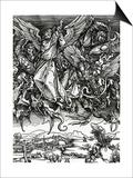 St. Michael Fighting the Dragon, 1498 (Woodcut) Prints by Albrecht Dürer