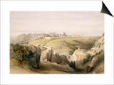 "Jerusalem from the Mount of Olives, April 8th 1839, Plate 6 from Volume I of ""The Holy Land"" Posters by David Roberts"