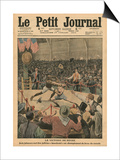 The Victory of the Negro, Jack Johnson Knocks Jim Jeffries Out at the World Boxing Championship Poster by  French School