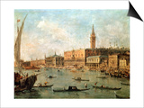 Venice: the Doge's Palace and the Molo from the Basin of San Marco, circa 1770 Poster by Francesco Guardi