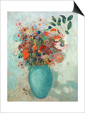 Flowers in a Turquoise Vase, C.1912 Prints by Odilon Redon