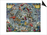 Map of Constellations, Northern Hemisphere, The Celestial Atlas, or the Harmony of the Universe Prints by Andreas Cellarius