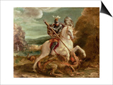 St. George Slaying the Dragon Print by Hans von Aachen