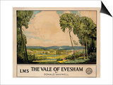 The Vale of Evesham, Poster Advertising London, Midland and Scottish Railway Posters by Donald Maxwell