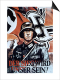 Victory Will Be Ours!', German WWII Poster by Zik, 1942 (Colour Litho) Posters by  German