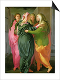 The Visitation, 1528-30 (Fresco) (See 208284 and 60439 for Details) Print by Jacopo da Carucci Pontormo