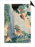 Ona Waterfall on the Kisokaido, 1827 (Colour Woodblock Print) Prints by Katsushika Hokusai